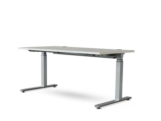 Height-adjustable rectangular workstation desk FOXX_eQ by Wiesner-Hager