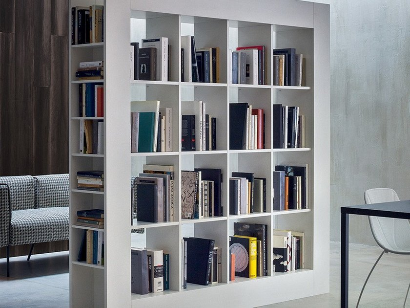 Freestanding double-sided bookcase FRAME by Novamobili