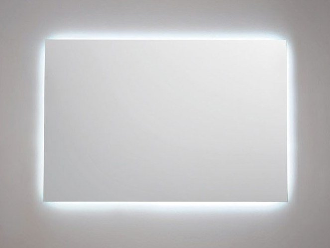 Wall-mounted rectangular mirror with integrated lighting FRAME S by FIT INTERIORS
