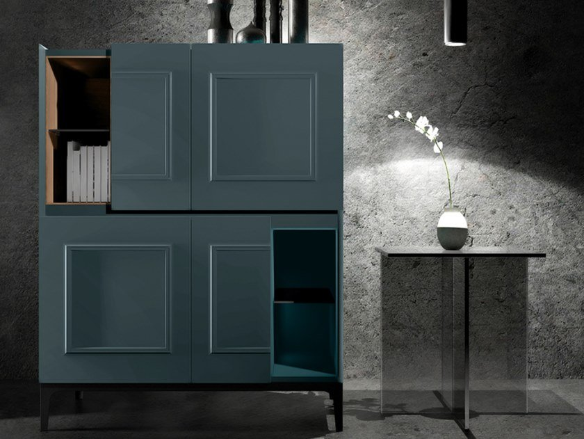 Lacquered highboard with doors FRAME UP | Lacquered highboard by EXENZA