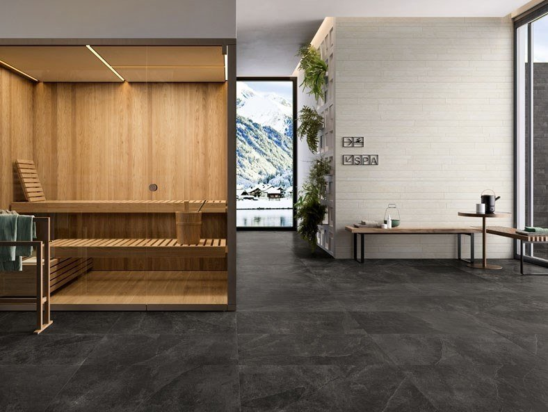Porcelain stoneware wall/floor tiles with stone effect FRAME by Panaria Ceramica