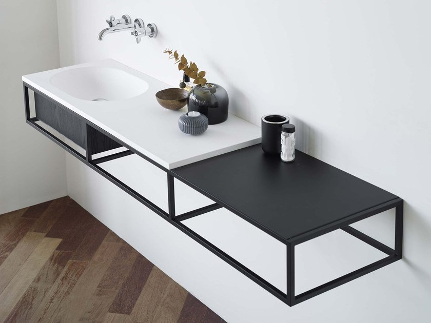 Wall-mounted console sink with drawers FRAME | Wall-mounted console sink by Ex.t
