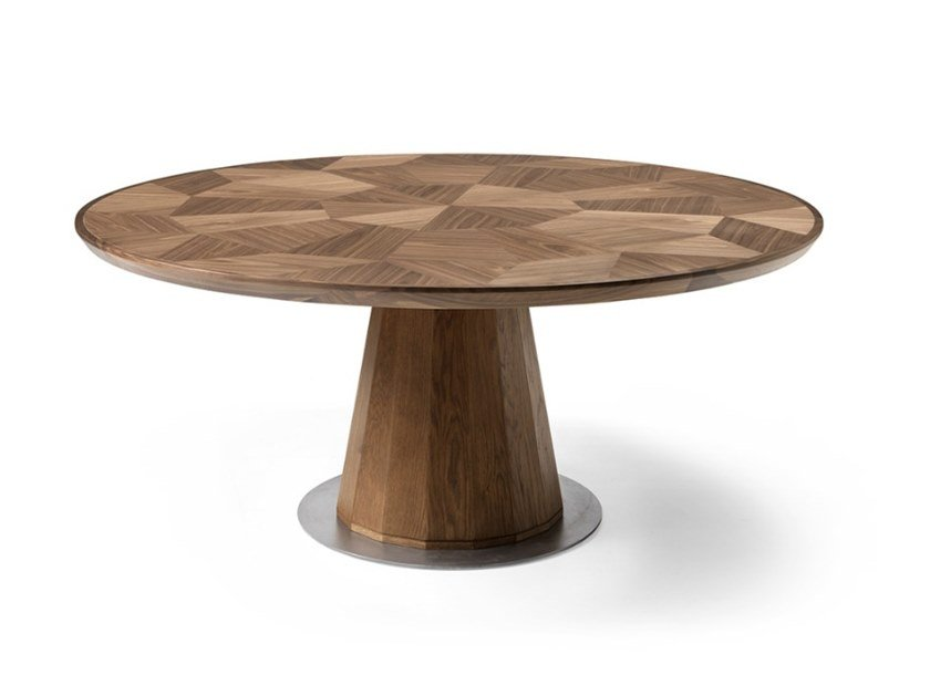 Round walnut table FRAMMENTI L615N   Table by Arte Brotto