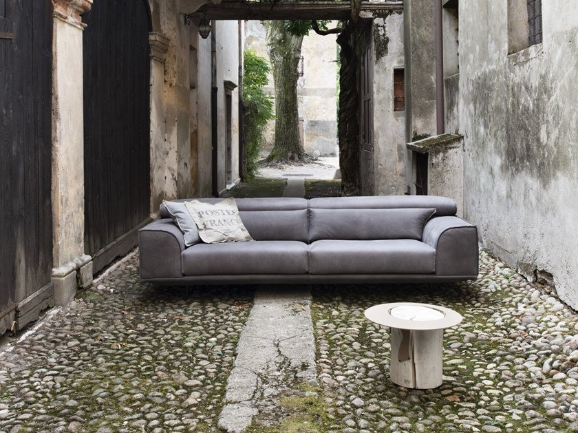 Leather sofa with headrest FRANK | Leather sofa by Gobbo Salotti