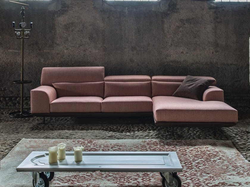 Fabric sofa with chaise longue with removable cover FRANK | Sofa with chaise longue by Gobbo Salotti