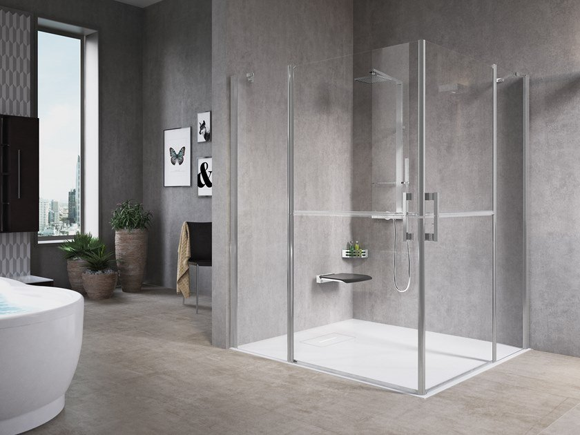 Corner shower cabin with hinged door FREE 1 A by NOVELLINI