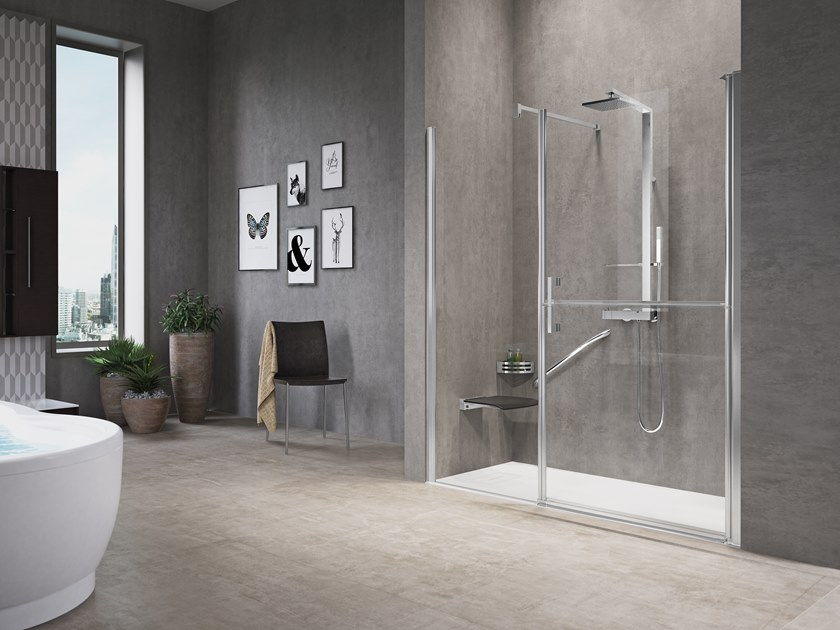 Niche shower cabin with hinged door and fixed panel in line FREE 1 G+F IN LINE by NOVELLINI