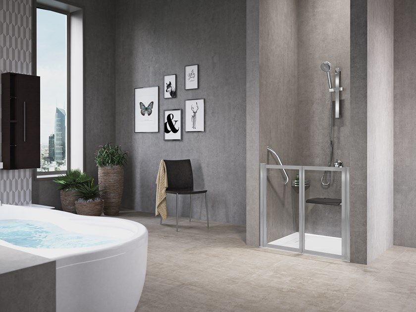Niche shower cabin with folding door FREE 2 P (LOW VERSION) by NOVELLINI