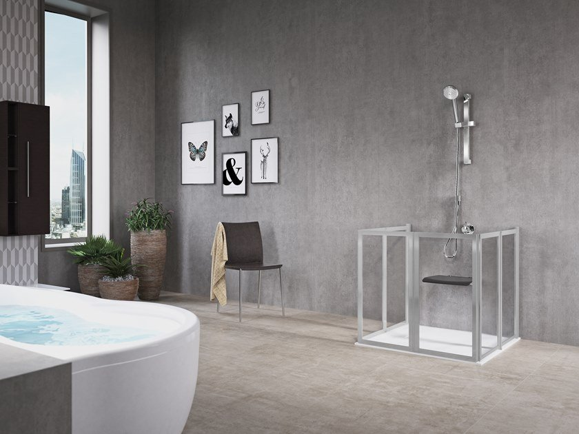 Rectangular shower cabin with hinged door FREE 2 U (LOW VERSION) by NOVELLINI