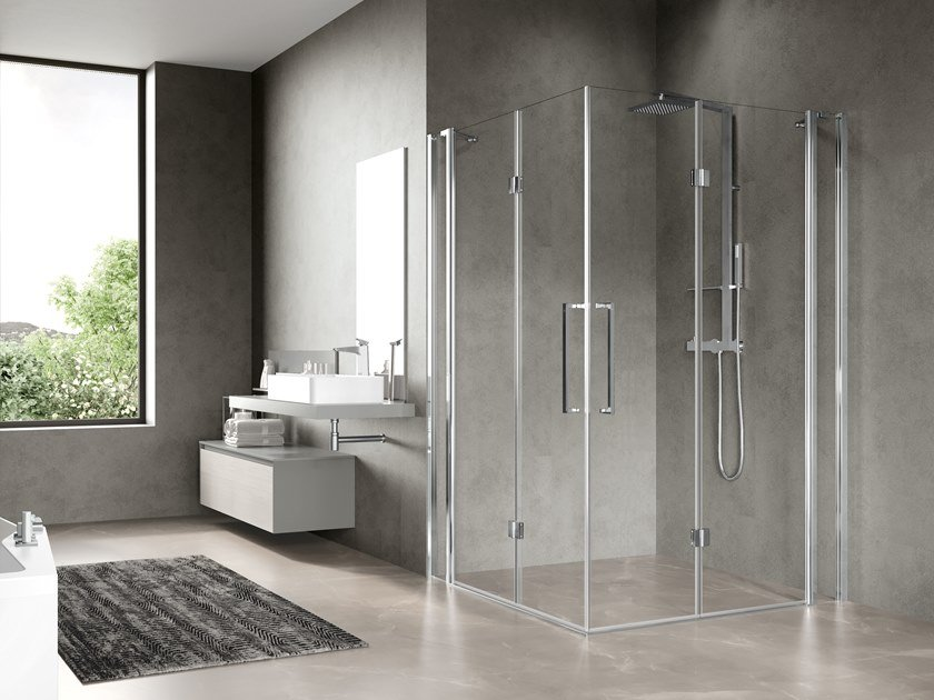 Corner shower cabin with folding door FREE 3 3AS by NOVELLINI