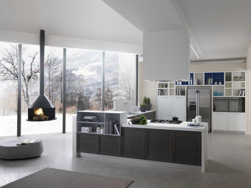 Laminam® fitted kitchen with peninsula FREE | Kitchen with peninsula by Floritelli Cucine