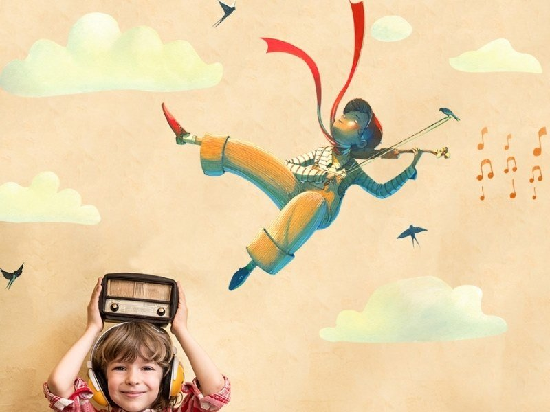 Kids wall sticker MUSICAL FLYING by ACTE-DECO