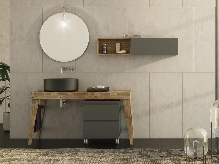 Floor-standing single spruce vanity unit with towel rail FREEDOM F32 by LEGNOBAGNO