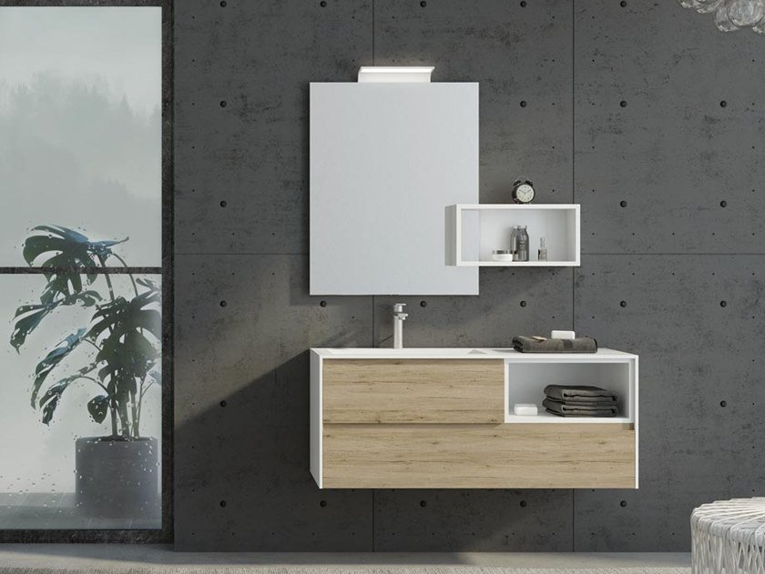 Floor-standing HPL vanity unit with drawers with mirror FREEDOM F33 by LEGNOBAGNO