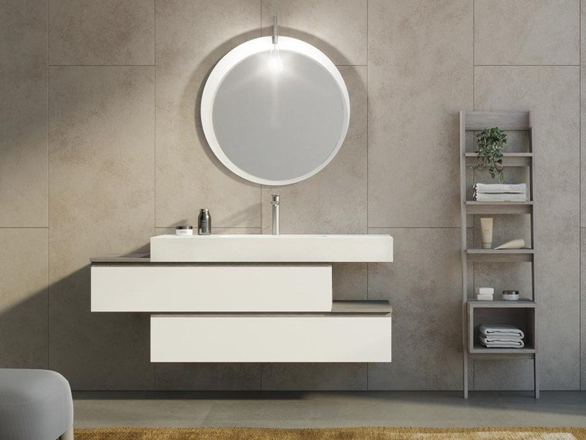Single wall-mounted vanity unit with drawers FREEDOM F34 by LEGNOBAGNO