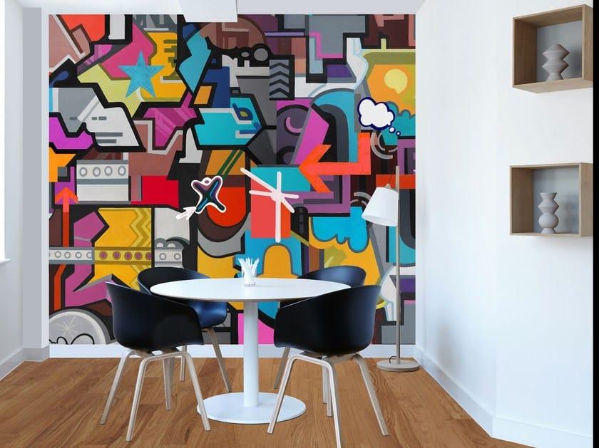 Adhesive panoramic wallpaper FRENCH GRAFFITI by MYFRESKO