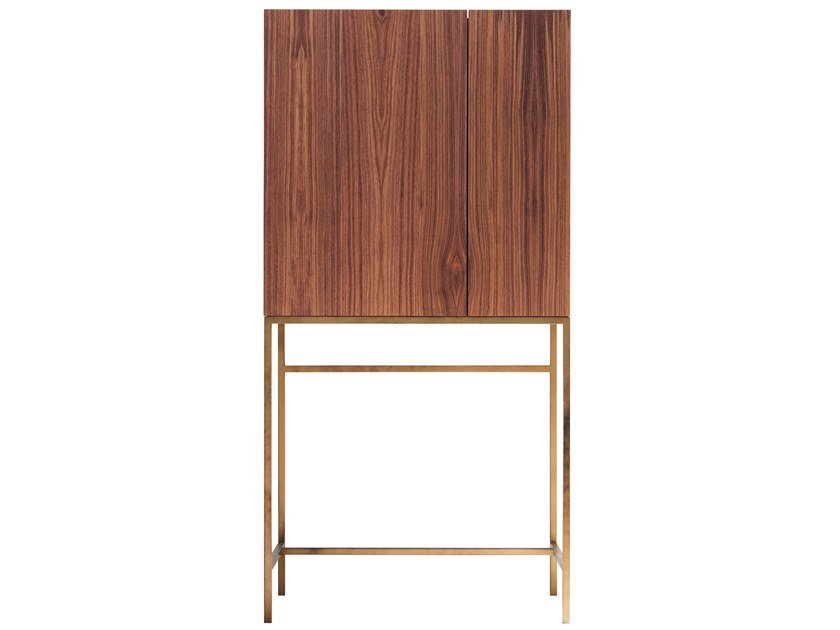 Walnut bar cabinet with tray FRIDA by Presotto