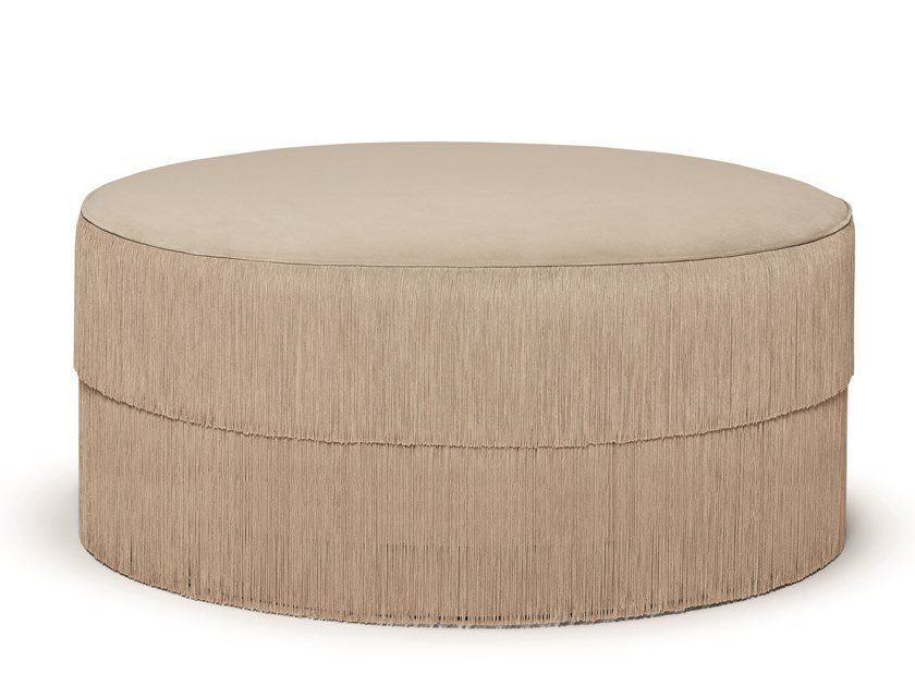 Upholstered round fabric pouf FRINGES | Round pouf by Munna