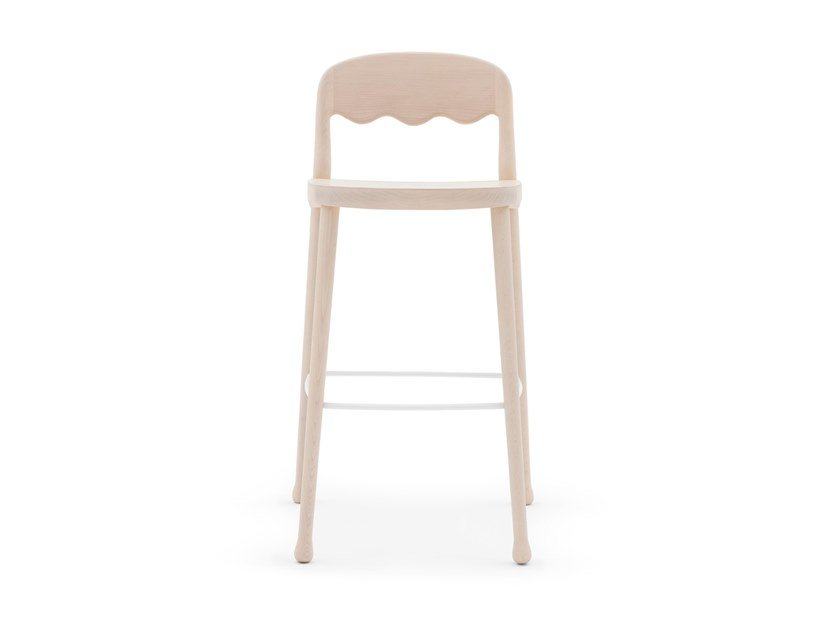 High wooden stool with footrest FRISÈE 254 by Billiani