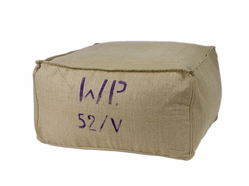 Upholstered square linen pouf FST0050 | Pouf by Gie El Home