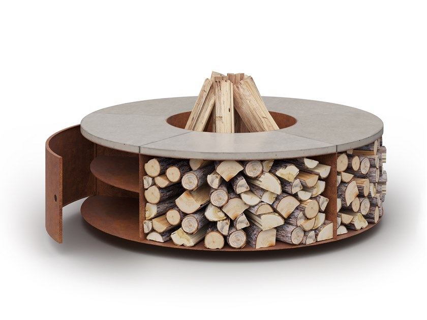Wood-burning outdoor freestanding fireplace FUEGO CUBBI by Laubo