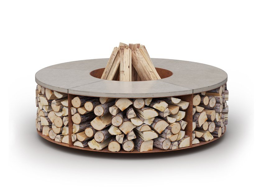Wood-burning outdoor freestanding fireplace FUEGO by Laubo