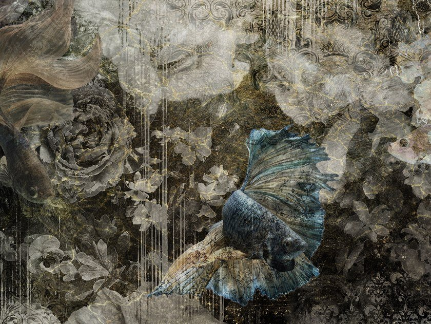 Panoramic nonwoven wallpaper strip FUJI GOLD by Tecnografica