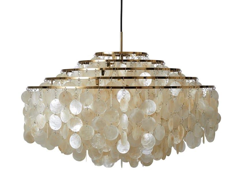 Mother of pearl pendant lamp FUN 11DM BRASS by Verpan