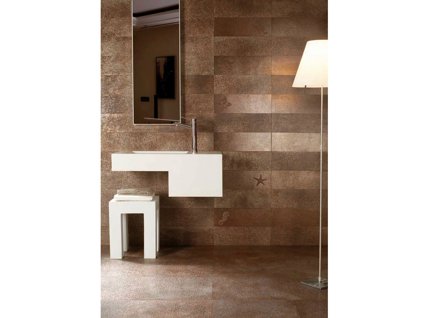 Porcelain stoneware wall/floor tiles with metal effect FUSION BRONZE by La Fabbrica