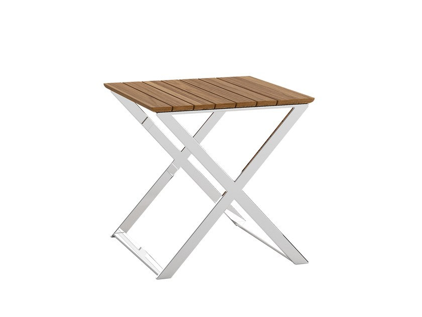 Square teak garden side table FUSION | Square coffee table by Atmosphera