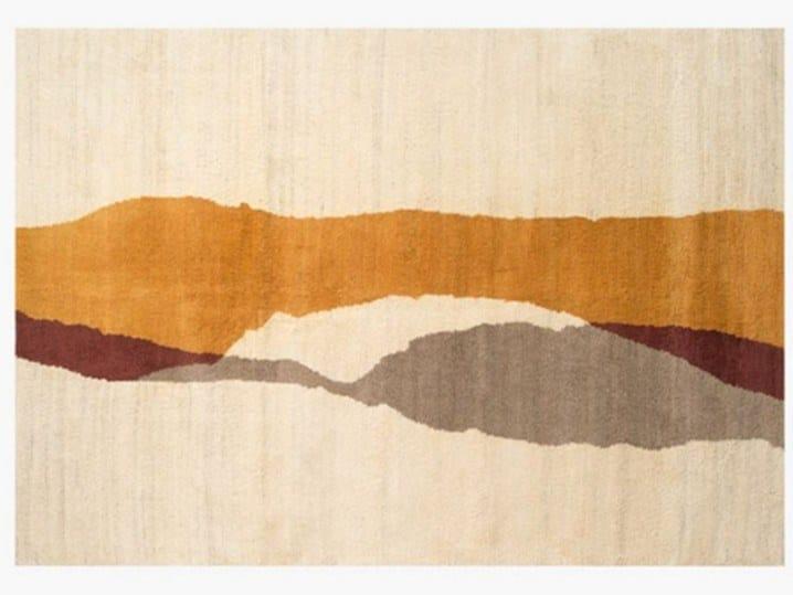 Handmade rectangular wool rug FUSION SUNSET by ROCHE BOBOIS