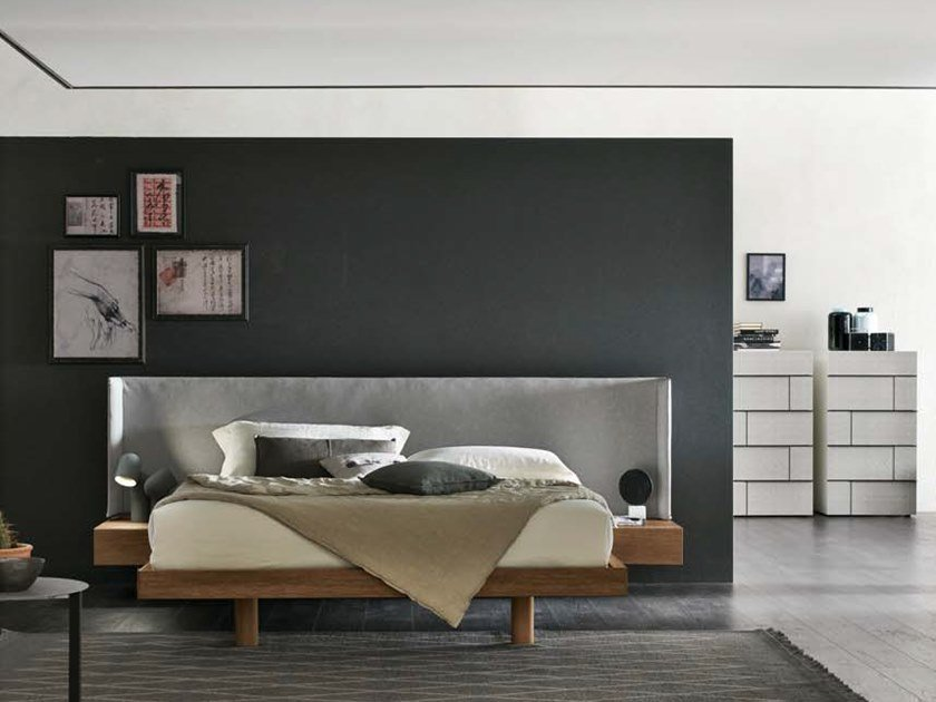 Bed double bed with integrated nightstands FUSION by Gruppo Tomasella