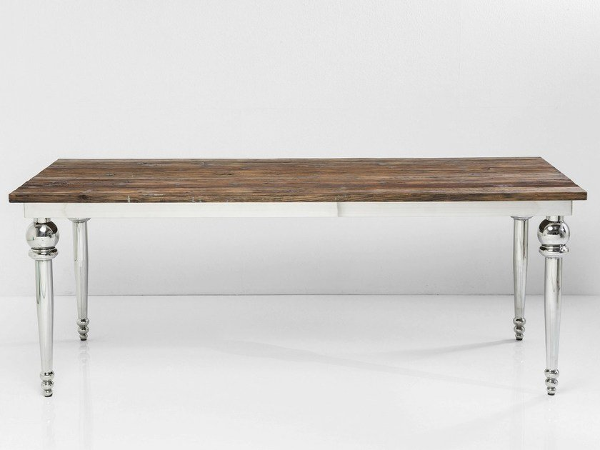 Rectangular stainless steel and wood table FUSIONE | Rectangular table by KARE-DESIGN