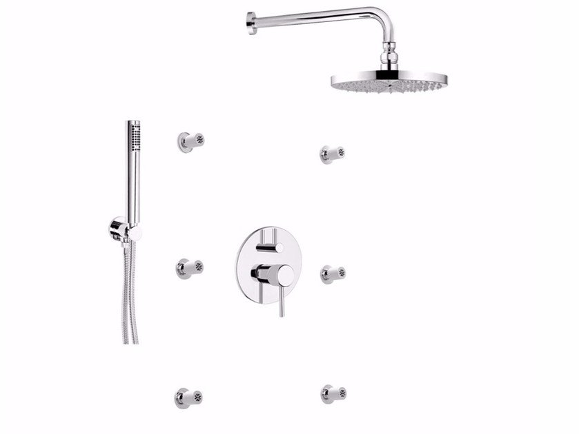 Contemporary style shower mixer with hand shower with overhead shower FUTURO - F6513-3-25KBS by Rubinetteria Giulini