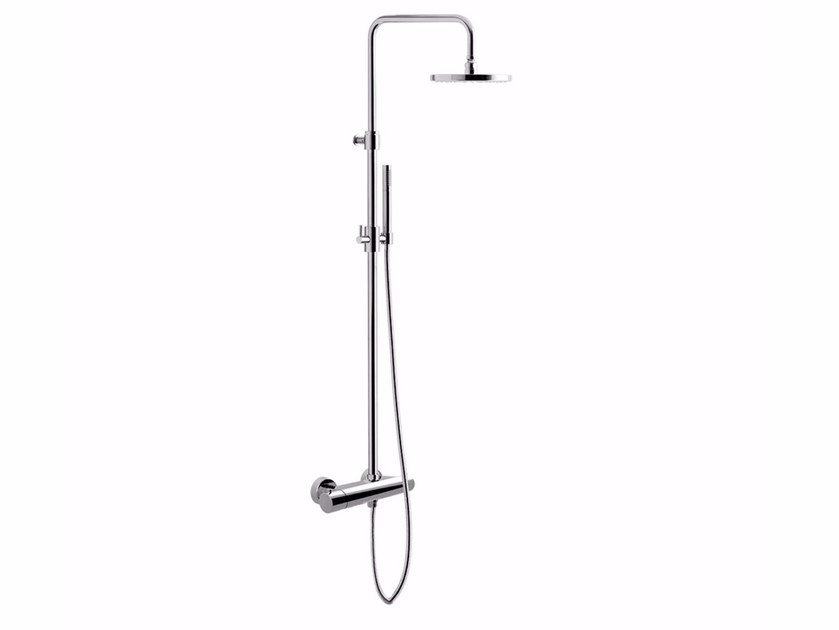 Wall-mounted thermostatic shower panel with overhead shower FUTURO - F8311-20 by Rubinetteria Giulini
