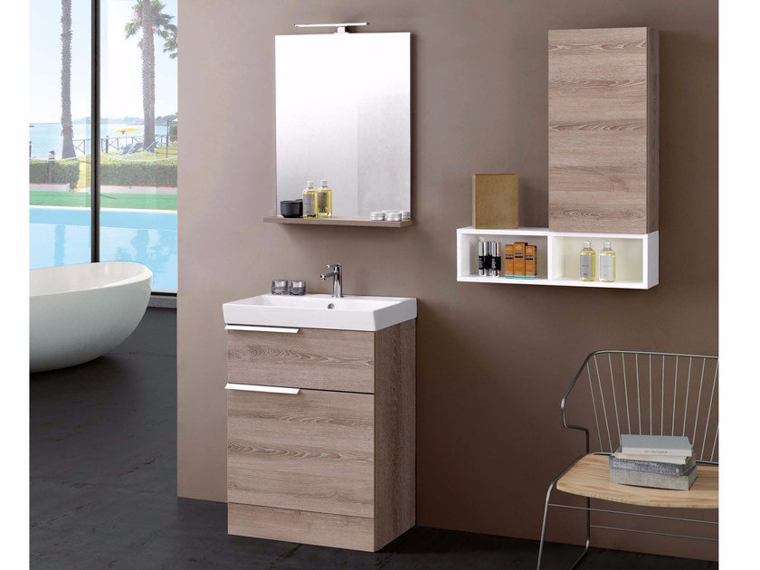 Laminate vanity unit with mirror FY02 by Mobiltesino