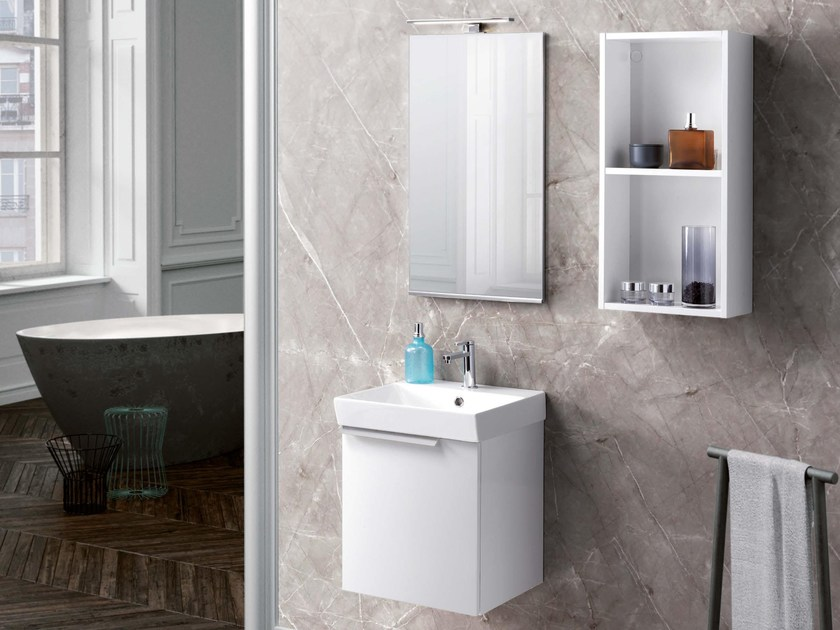 Lacquered vanity unit with mirror FY03 by Mobiltesino