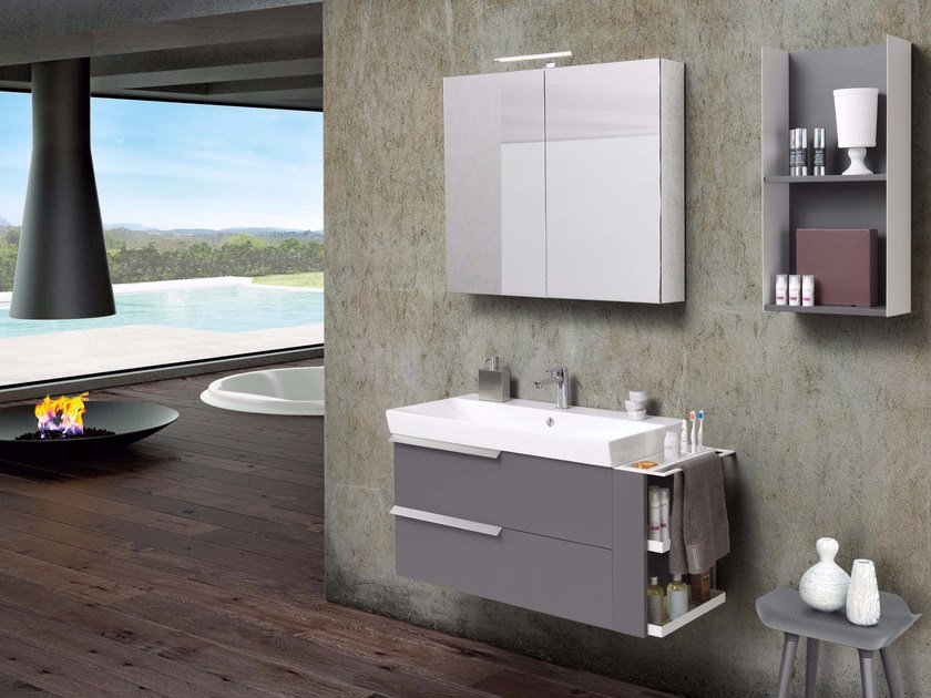 Lacquered vanity unit with drawers with mirror FY05 by Mobiltesino
