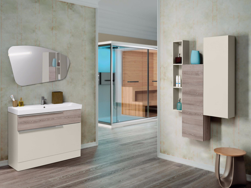 Lacquered single vanity unit with mirror FY08 by Mobiltesino