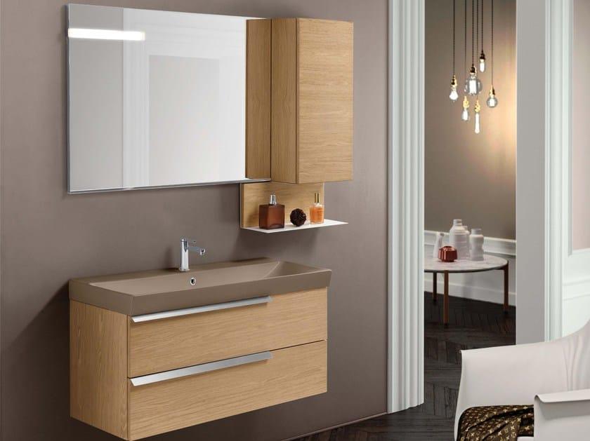 Single wood veneer vanity unit with drawers FY13 by Mobiltesino