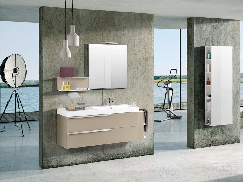 Single wall-mounted vanity unit with cabinets FY15 by Mobiltesino