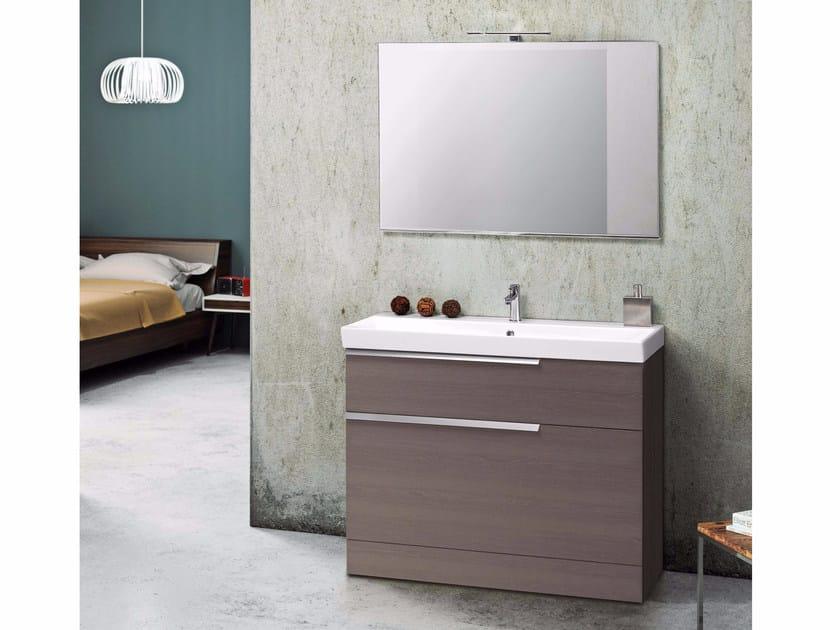 Wood veneer vanity unit with mirror FY16 by Mobiltesino