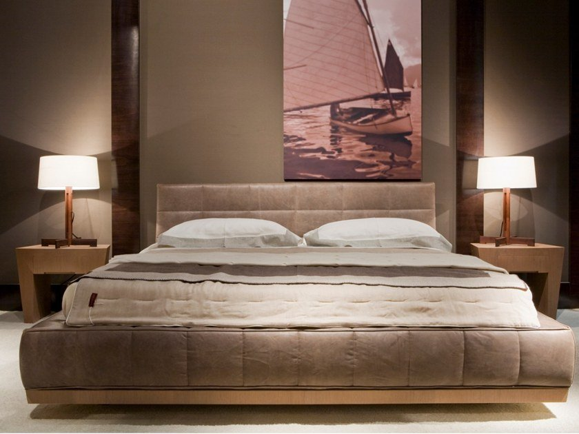 Upholstered leather double bed G 1396 | Bed by Annibale Colombo
