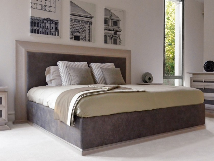 Oak double bed with upholstered headboard G 1512 | Bed by Annibale Colombo
