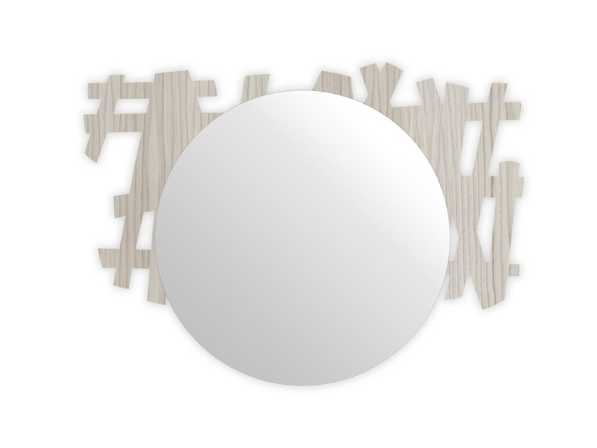 Round wall-mounted framed mirror G-386 | Mirror by LAS