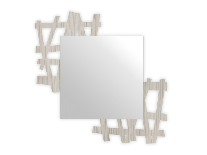 Square wall-mounted framed mirror G-387 | Mirror by LAS