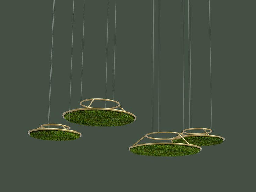 Stabilized plants hanging acoustical panel G-CIRCLES   Hanging acoustical panel by GREEN MOOD