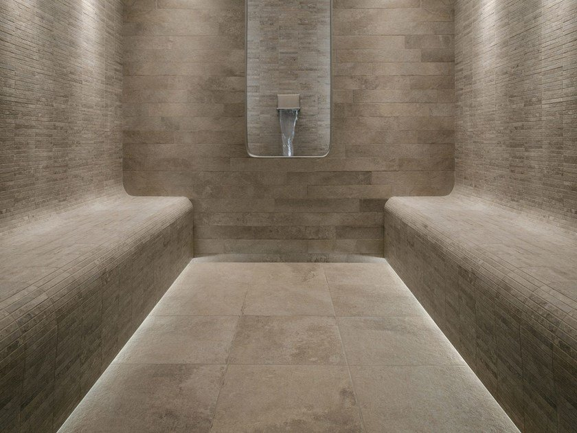 Pavimento/rivestimento effetto pietra per esterni GEO IVOIRE by NOVOCERAM