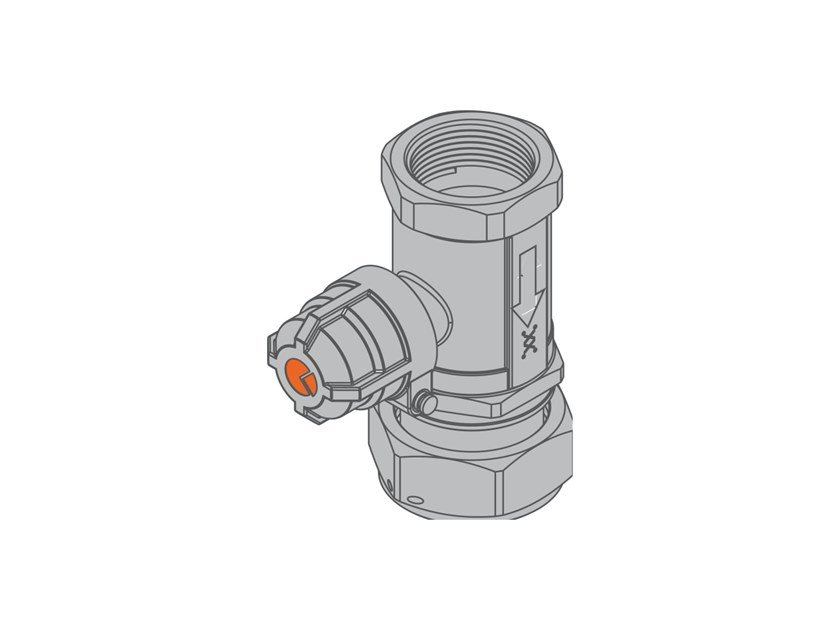 Valve with sealable cap for dual-pipe gas meter G2 PA Straight valve - f/swivel nut by TECO