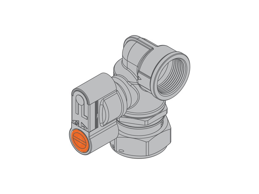 Valve with swivel nut for dual-pipe gas meter G2 PA 90° Right-hand valve f/swivel nut by TECO